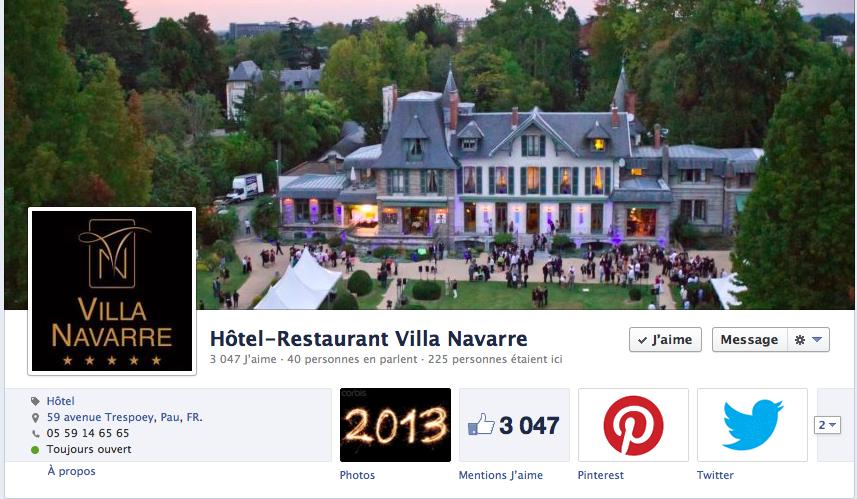 facebook Villa Navarre Hotel